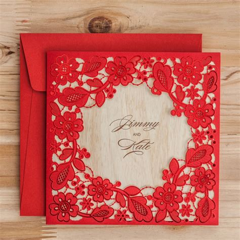 Laser Cut Wedding Invitations Cards Red Black Flowers
