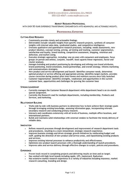 Market Research Resume Objective by Market Research Manager Resume Resume Website