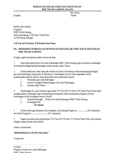 Surat Permohonan Sumbangan Y Menyentuh by Contoh Surat Mohon Sumbangan