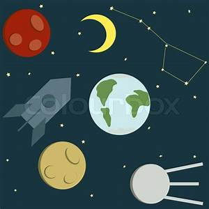 Drawing of the star sky and planets | Stock Vector | Colourbox