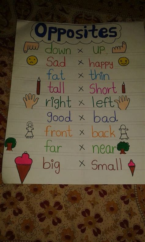 display chart  classroom opposites kids learning