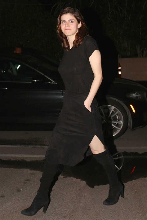 alexandra daddario   black dress arrives  matsuhisa