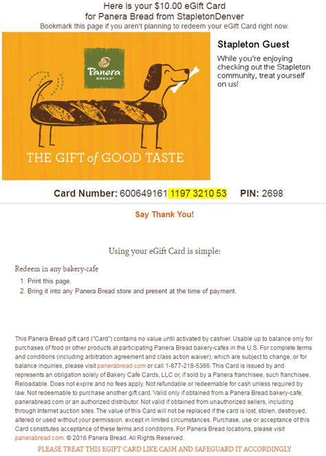 Panera Bread Gift Card Balance Check