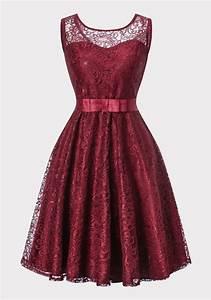 Eng Anliegende Kleider : weinrot spitze schleife g rtel r ckenausschnitt rmellos elegant midikleid spitzenkleider ~ Frokenaadalensverden.com Haus und Dekorationen