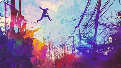 4k Abstract Illustration Painting Jumping Roof Wallpapers
