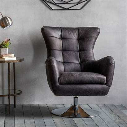 Swivel Chair Ebony Bristol Leather Armchair Chairs