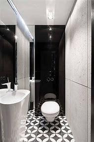 Black and White Small Bathroom Floor Tile