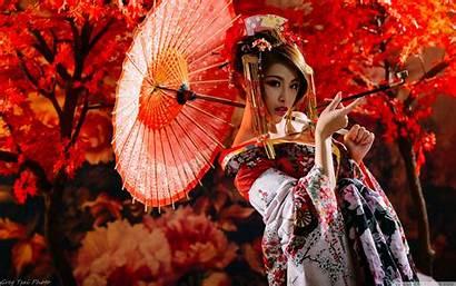 Smoking Woman Traditional Japanese