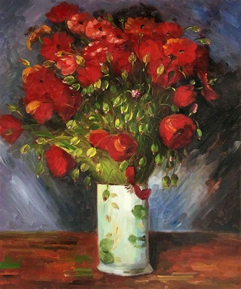 Vase With Poppies Vincent Gogh by Vase With Poppies 1886 Vincent Gogh