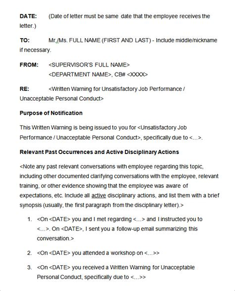 sample disciplinary letter templates word apple
