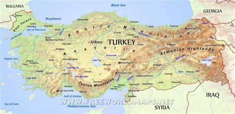 Turcija ģeogrāfiskā karte - Turcija ģeogrāfiskās kartes ...