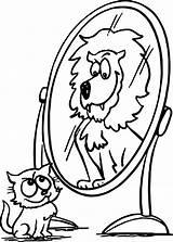 Coloring Mirror Lion Activity Animal Cat Designlooter sketch template