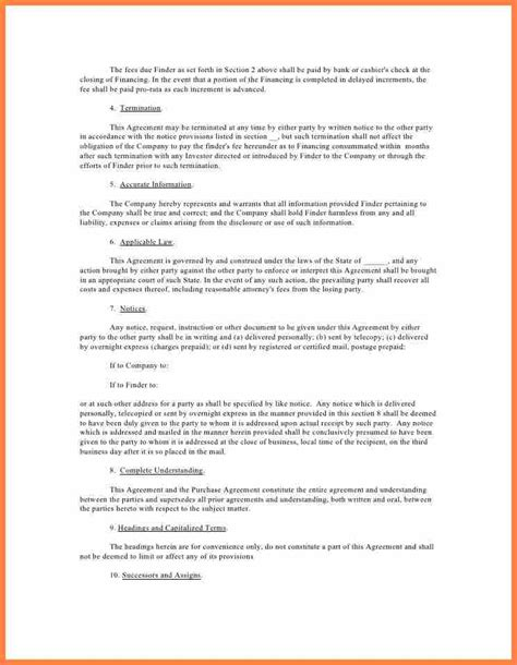 real estate finders fee agreement template purchase