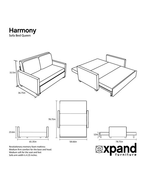 Sofa Bed Size by Harmony Size Memory Foam Sofa Bed Expand