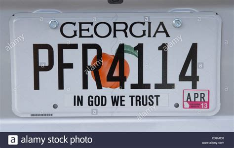 Georgia In God We Trust State License Plate Usa Stock