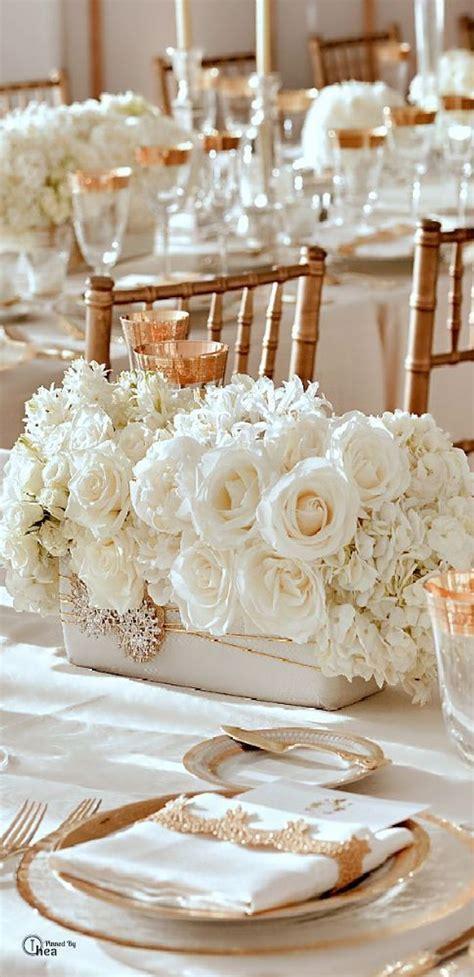 Décoration De Table De Mariage Blanc Et Or Les