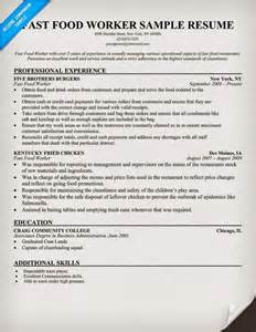 additional qualities in resume fast food worker resume sle fast food worker resume