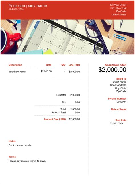 event planner invoice template