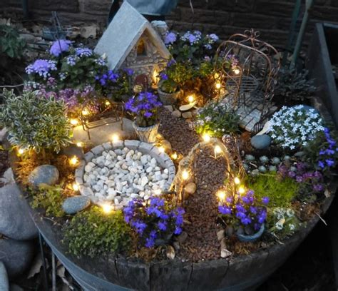garden with solar twinkle lights plants include