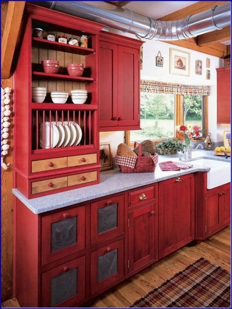 perfect red country kitchen cabinet design ideas
