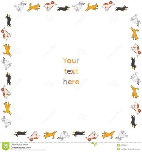 funny running dogs square vector frame stock vector