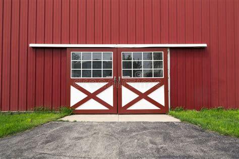 red barn door stock image image  construction