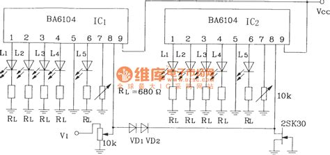 Point Led Level Display Circuit With Blocks