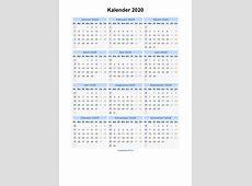Kalender 2020 Jaarkalender en Maandkalender 2020 met