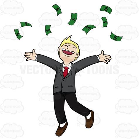 Guy Throwing Money into Air Clip Art