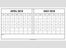 Calendar April May 2018 happyeasterfromcom