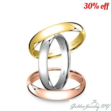 solid 18k white yellow rose gold plain comfort fit wedding band ring mens women ebay
