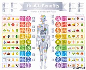 Mineral Vitamin Supplement Icons  Health Benefit Flat