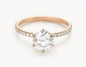 minimal 18k rose gold solitaire round brilliant pave band With solitaire engagement ring with pave wedding band