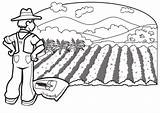 Coloring Farmer Farm Pages Printable Planting sketch template