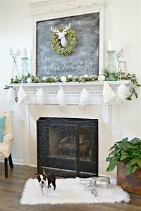 White, And, Silver, Deer, Themed, Christmas, Mantel