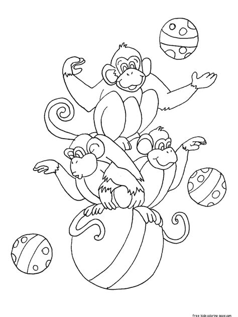 printable circus monkey coloring pages  kidsfree printable coloring pages  kids