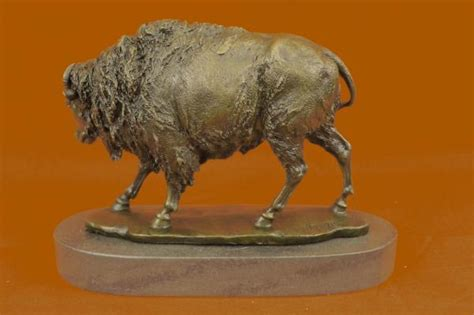 American Buffalo Bison Western Artwork Bronze Marble Base