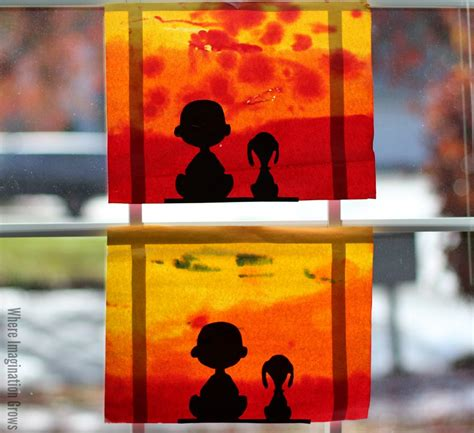 charlie brown  snoopy sunset silhouette fun family crafts