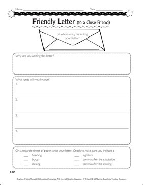 friendly  business letters graphic organizers