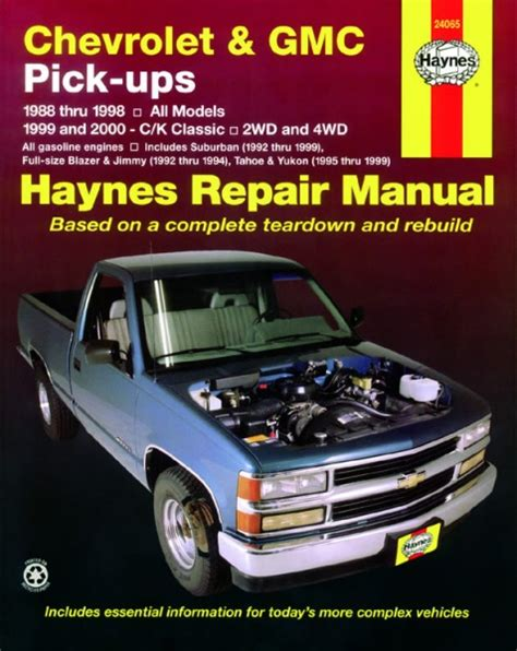 free online car repair manuals download 2012 gmc yukon head up display bilbok chevrolet and gmc pick ups 2wd 4wd 88 00 haynes car manual haynes