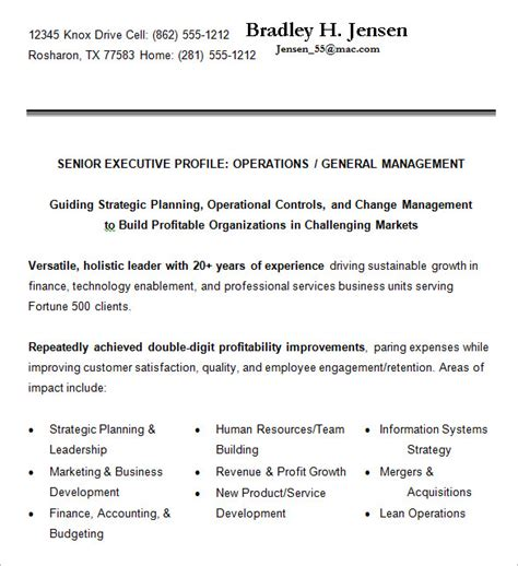 Best Resume Format For Senior Executives by Senior Executive Resume Format