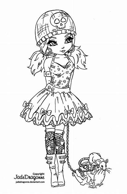 Coloring Gothic Deviantart Lolita Lineart Pages Goth