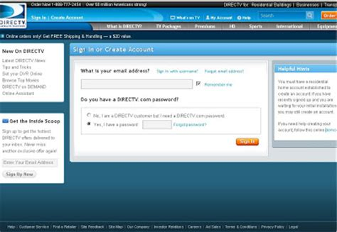 pay my directv bill by phone how to login to directv s my account section to view