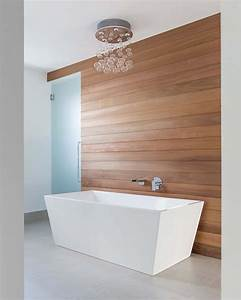 Contemporary, Master, Bathroom, With, Wood, Paneling