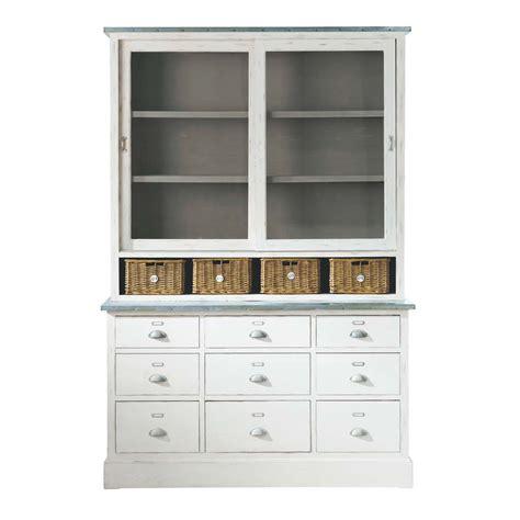 bureaux pas cher vaisselier en bois de paulownia blanc l 145 cm sorgues