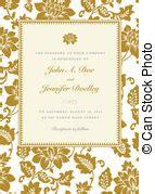 Wedding invitation border gold 50th 3d scroll accents