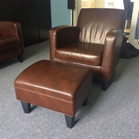 ikea jappling brown leather sofa chair and footstool