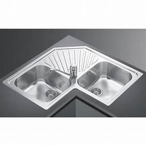 smeg kitchen corner sink alba sp2a 2 bowls stainless With alba sinks