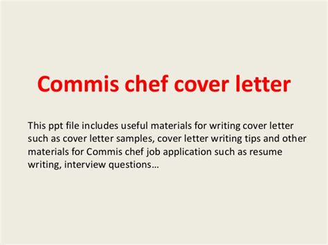 Commis Chef Resume Exles by Commis Chef Cover Letter