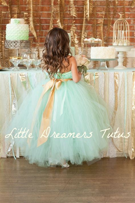 adorable flower girl dress mint green gold onewedcom